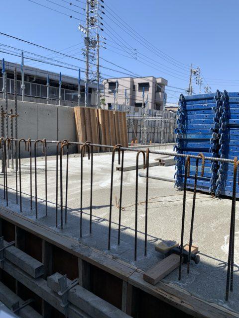 10階建RC造マンション外部足場組み立て
